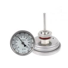Termômetro Analógico Bimetalico Inox 76mm com Kit fixação 1/2